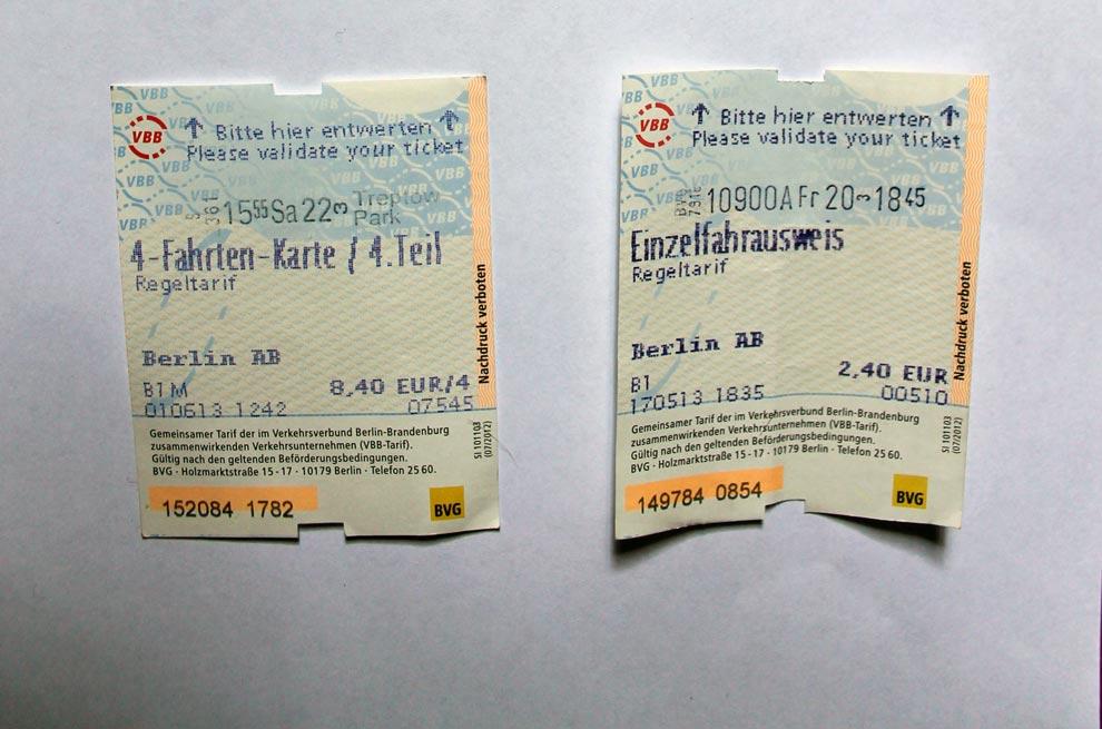 Билет на одну поездку Einzelfahrschein, рядом билет на 4 таких поездки