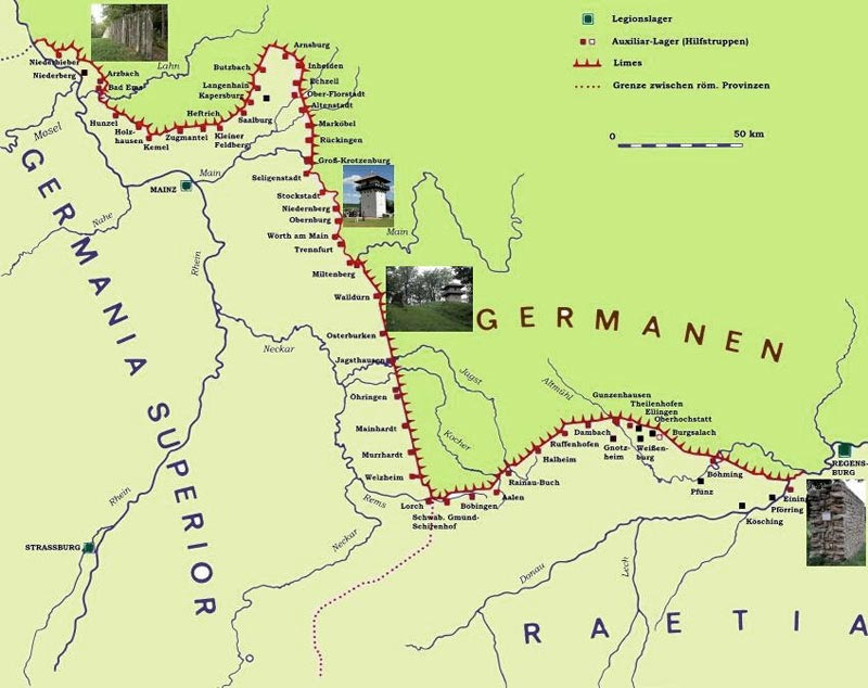 Карта укрепленных рубежей Римской империи